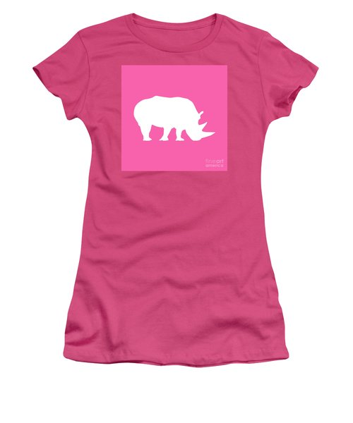 Rhino In Pink And White Women's T-Shirt (Athletic Fit)