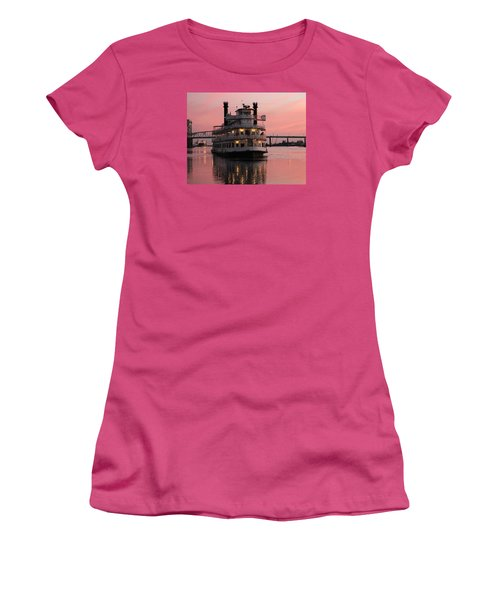 Riverboat At Sunset Women's T-Shirt (Junior Cut) by Cynthia Guinn