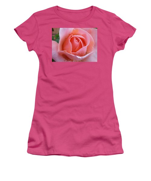 Women's T-Shirt (Junior Cut) featuring the photograph Rose In The Rain by Lingfai Leung