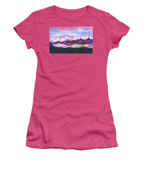 Women's T-Shirt (Junior Cut) featuring the painting Sangre De Cristo Mountains by Stephen Anderson