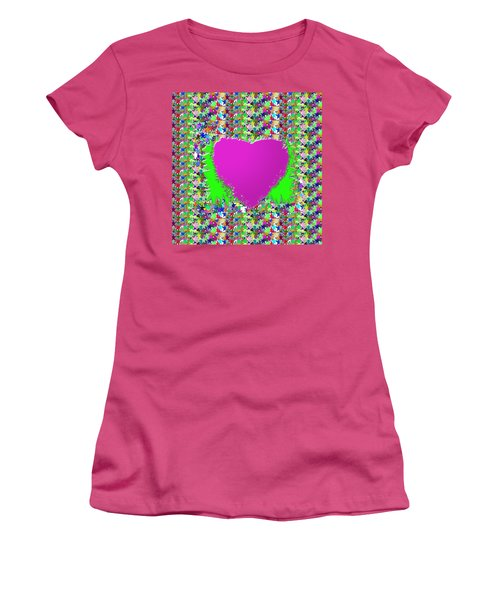 Women's T-Shirt (Junior Cut) featuring the photograph Sensual Pink Heart N Star Studded Background by Navin Joshi