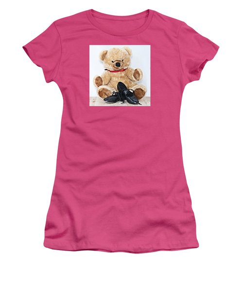 Tap Dance Shoes And Teddy Bear Dance Academy Mascot Women's T-Shirt (Junior Cut) by Pedro Cardona