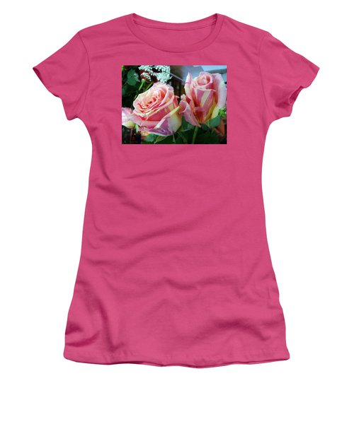 Tie Dye Roses Women's T-Shirt (Athletic Fit)