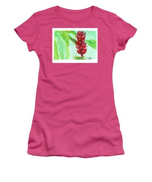 Women's T-Shirt (Junior Cut) featuring the painting Tropical Flowers 2 by C Sitton
