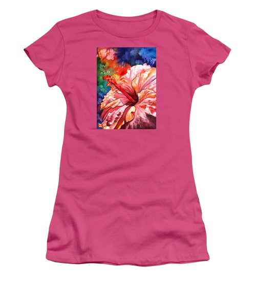 Tropical Pink Hibiscus Women's T-Shirt (Athletic Fit)