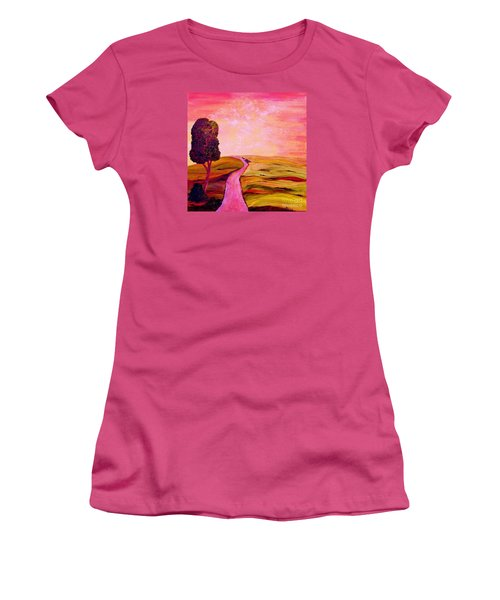 Women's T-Shirt (Junior Cut) featuring the painting Tuscan Skies ... An Impressionist View by Eloise Schneider