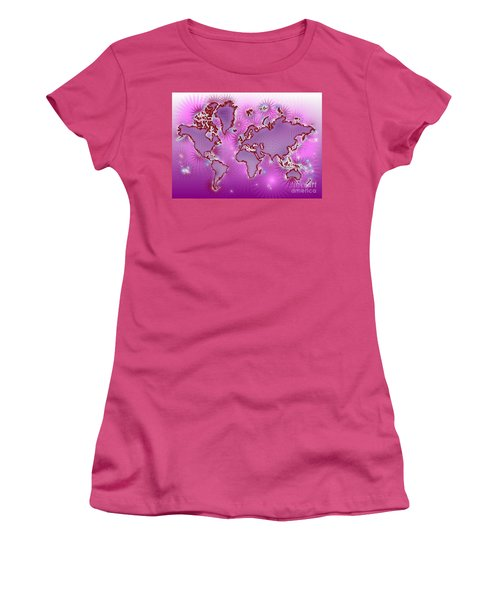 World Map Amuza In Pink And Purple Women's T-Shirt (Junior Cut) by Eleven Corners