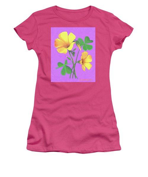 Yellow Clover Flowers Women's T-Shirt (Junior Cut) by Sophia Schmierer