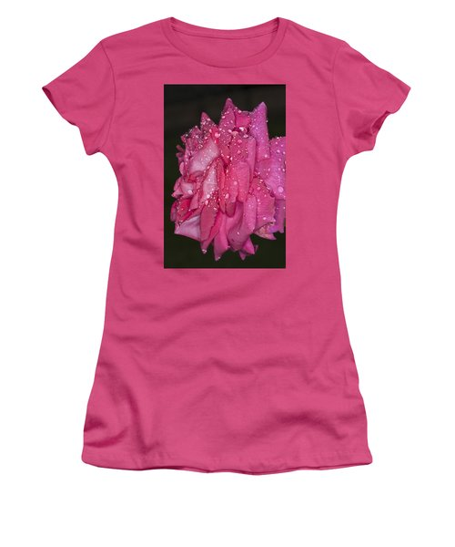 Women's T-Shirt (Junior Cut) featuring the photograph Pink Rose Wendy Cussons by Steve Purnell