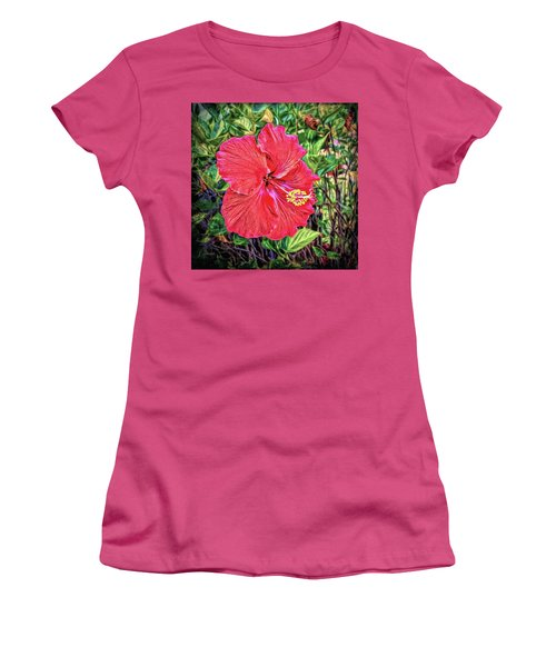 Women's T-Shirt (Athletic Fit) featuring the photograph Hibiscus Flower by Lewis Mann