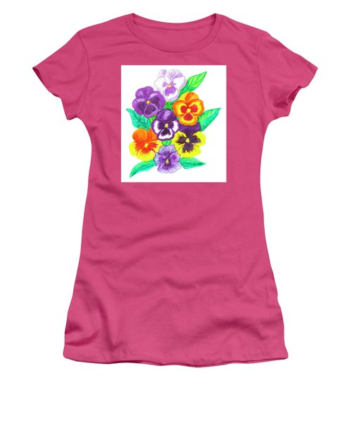 Pansies, Watercolour Painting Women's T-Shirt (Athletic Fit)