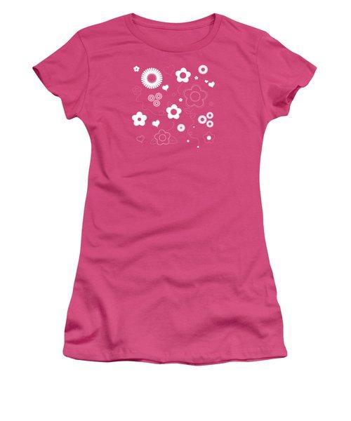 Playful Flower Background Women's T-Shirt (Junior Cut) by Serena King