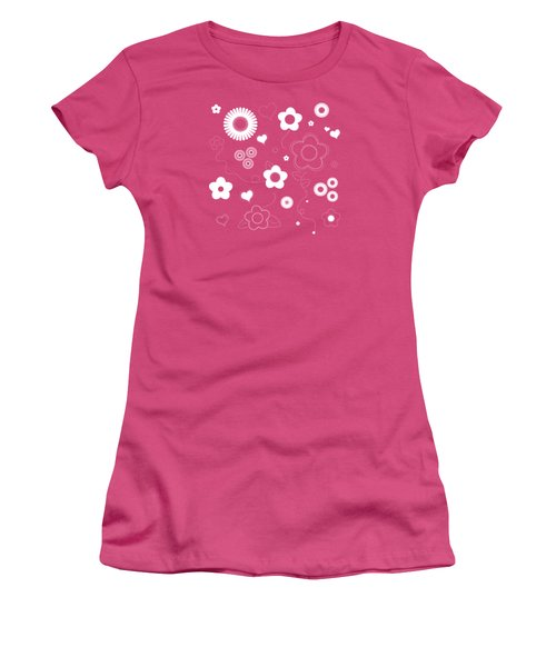 Playful Flower Background Women's T-Shirt (Athletic Fit)