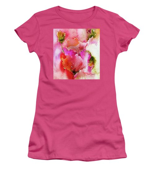 Women's T-Shirt (Junior Cut) featuring the painting Poppy Garden by Linde Townsend
