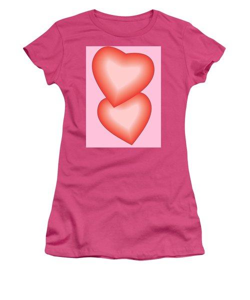 Valentine Hearts Women's T-Shirt (Junior Cut) by Sherril Porter