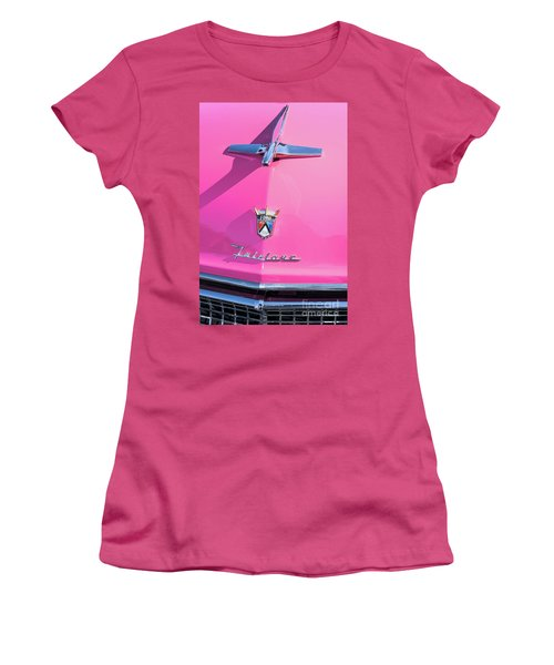 1955 Pink Ford Fairlane Hood Ornament Women's T-Shirt (Junior Cut) by Aloha Art