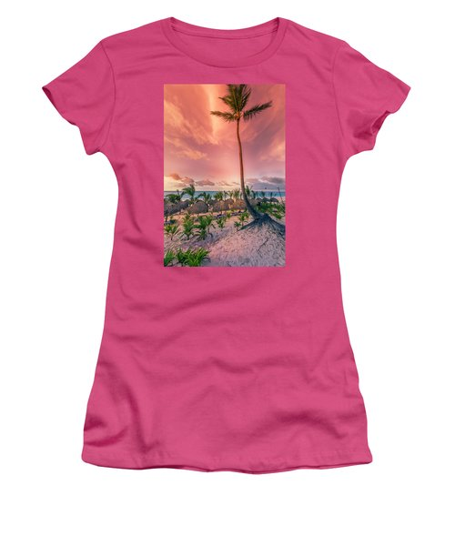 Women's T-Shirt (Athletic Fit) featuring the photograph Dominicana Beach by Peter Lakomy