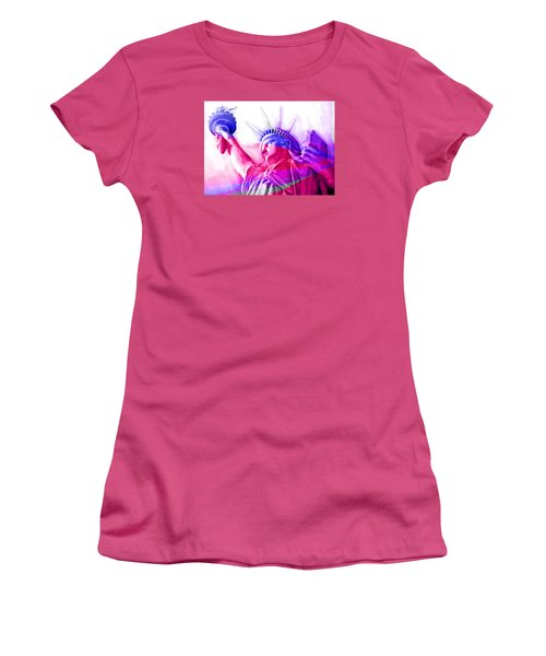 Women's T-Shirt (Junior Cut) featuring the painting Abstract Statue Of Liberty 7 by J- J- Espinoza