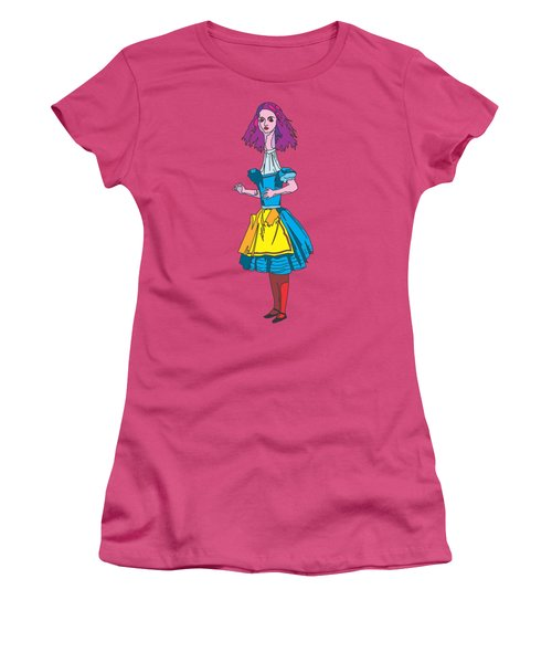 Alice In Wonderland - Ask Alice - Psychedelic Alice Women's T-Shirt (Junior Cut) by Paul Telling