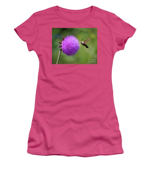 Women's T-Shirt (Athletic Fit) featuring the photograph Amazing Insects - Hummingbird Moth by Kerri Farley