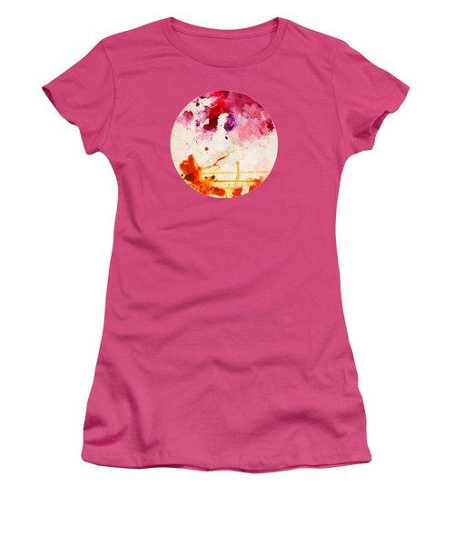 Fuchsia And Orange Color Splash Women's T-Shirt (Athletic Fit)