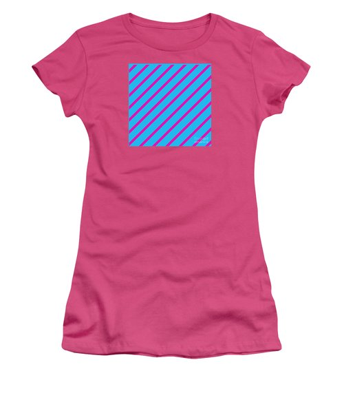 Blue Pink Angled Stripes Abstract Women's T-Shirt (Athletic Fit)