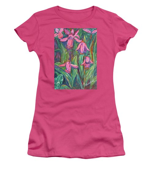 Women's T-Shirt (Junior Cut) featuring the painting Chinese Orchids by Kendall Kessler