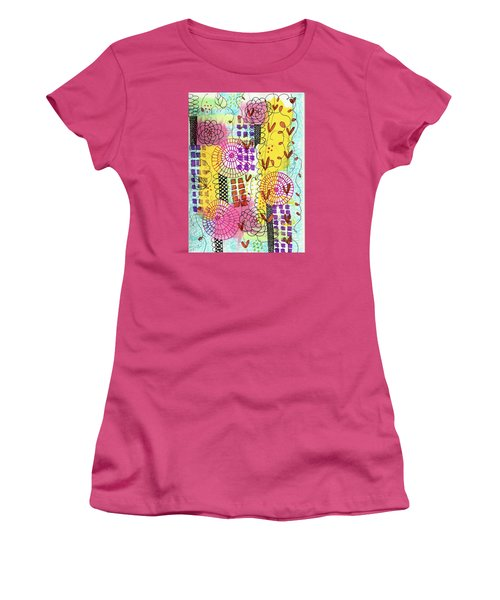 Women's T-Shirt (Junior Cut) featuring the mixed media City Flower Garden by Lisa Noneman