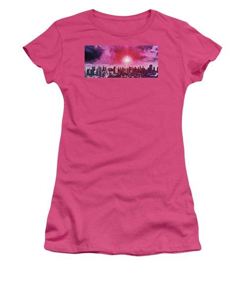 Women's T-Shirt (Athletic Fit) featuring the digital art City Landscape by PixBreak Art