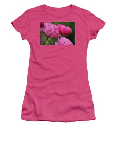 Closeup Deep Peony Pink Ranunculus Women's T-Shirt (Athletic Fit)