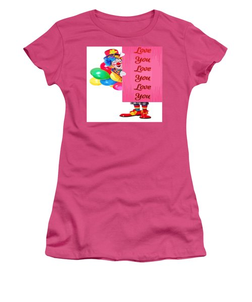 Clown With Love You Poster And Baslloons Women's T-Shirt (Athletic Fit)