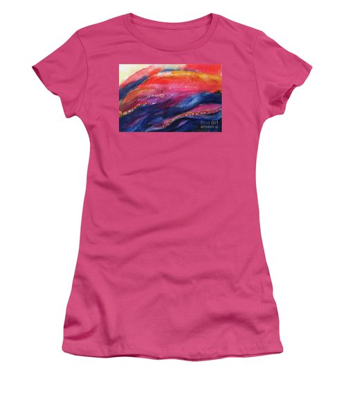 Women's T-Shirt (Junior Cut) featuring the painting Coatings And Deposits Of Color by Kathy Braud