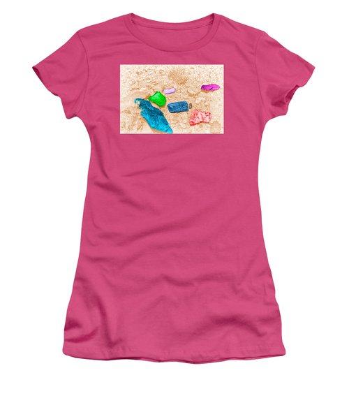 Women's T-Shirt (Junior Cut) featuring the digital art Colored Rocks 1 by Bartz Johnson