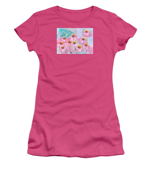 Coneflower Hummingbird Watercolor Women's T-Shirt (Athletic Fit)