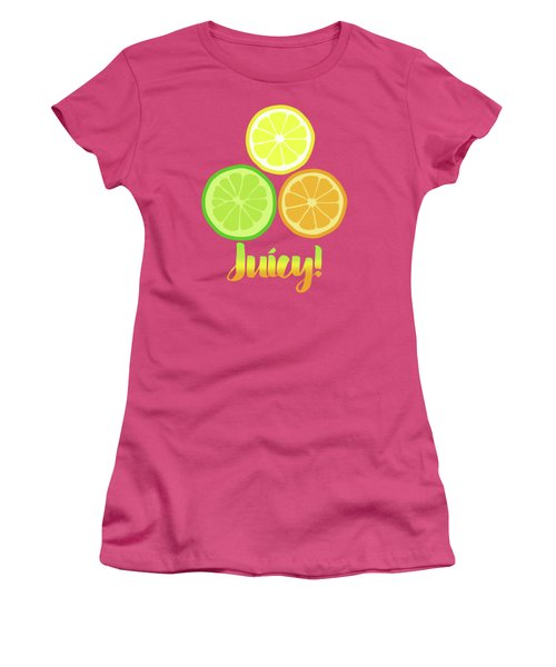 Cute Juicy Orange Lime Lemon Citrus Fun Art Women's T-Shirt (Athletic Fit)