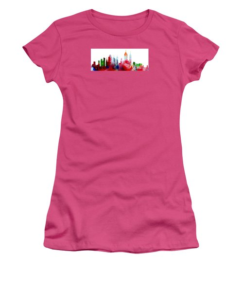 Decorative Skyline Abstract New York P1015c Women's T-Shirt (Athletic Fit)