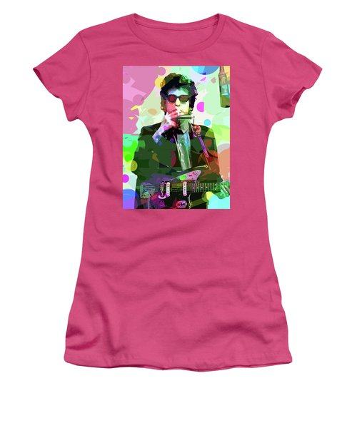 Dylan In Studio Women's T-Shirt (Junior Cut) by David Lloyd Glover