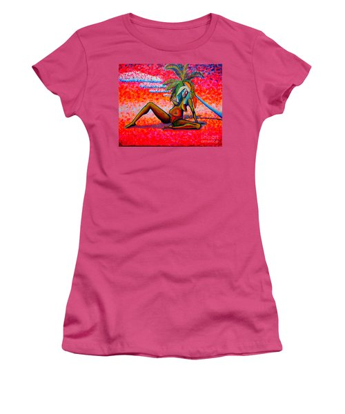 Women's T-Shirt (Junior Cut) featuring the painting elle or Pablo's girl by Viktor Lazarev