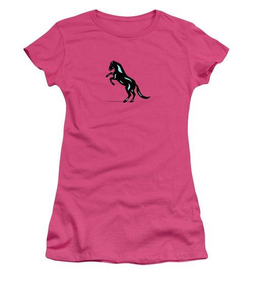 Emma - Pop Art Horse - Black, Island Paradise Blue, Pink Women's T-Shirt (Junior Cut) by Manuel Sueess