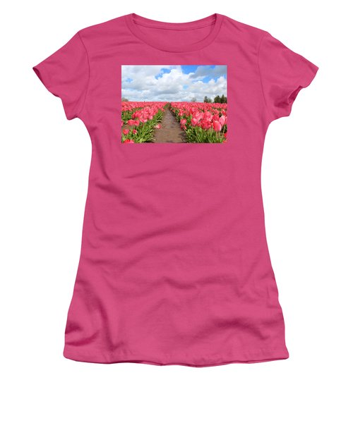 Field Of Pink Women's T-Shirt (Athletic Fit)