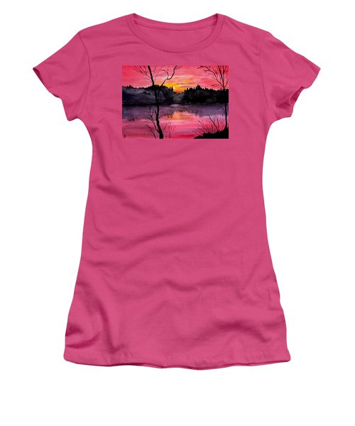Fire In The Sky    Lake Arrowhead Maine Women's T-Shirt (Athletic Fit)