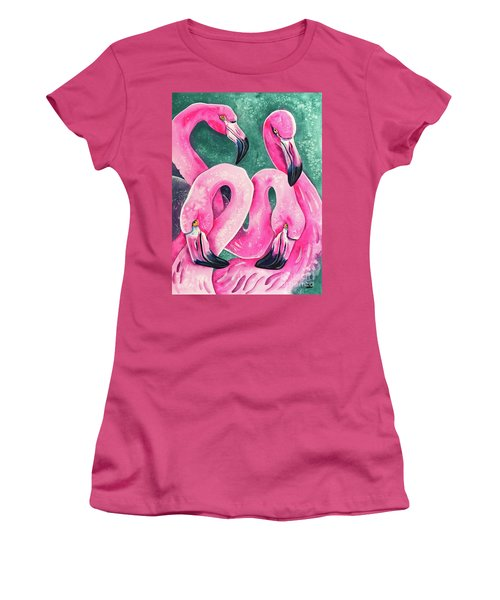 Women's T-Shirt (Athletic Fit) featuring the painting Flamingo Magic by Zaira Dzhaubaeva