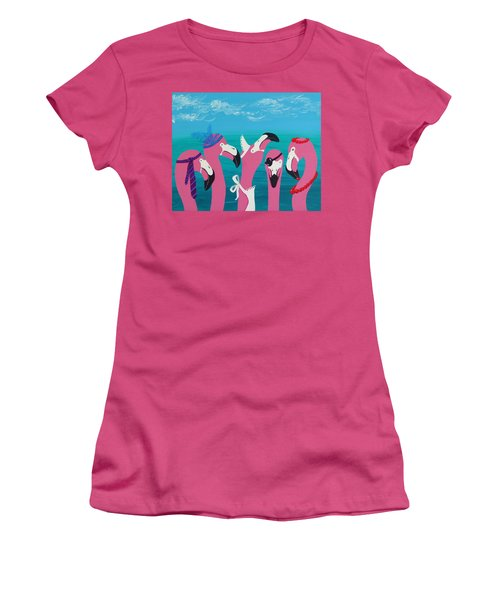 Women's T-Shirt (Junior Cut) featuring the painting Flamingo Party by Katherine Young-Beck