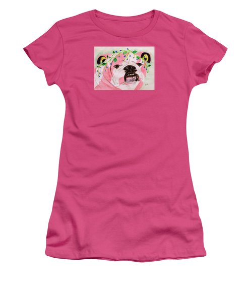 Women's T-Shirt (Junior Cut) featuring the painting Flower Dog 3 by Hilda and Jose Garrancho