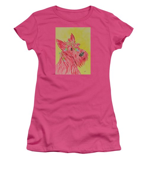 Women's T-Shirt (Junior Cut) featuring the painting Flower Dog 6 by Hilda and Jose Garrancho