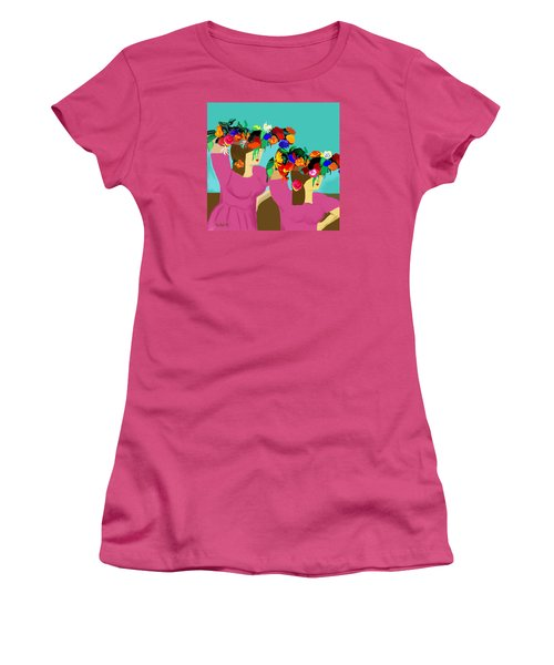 Women's T-Shirt (Junior Cut) featuring the photograph Flower Girls In The Market by Haleh Mahbod