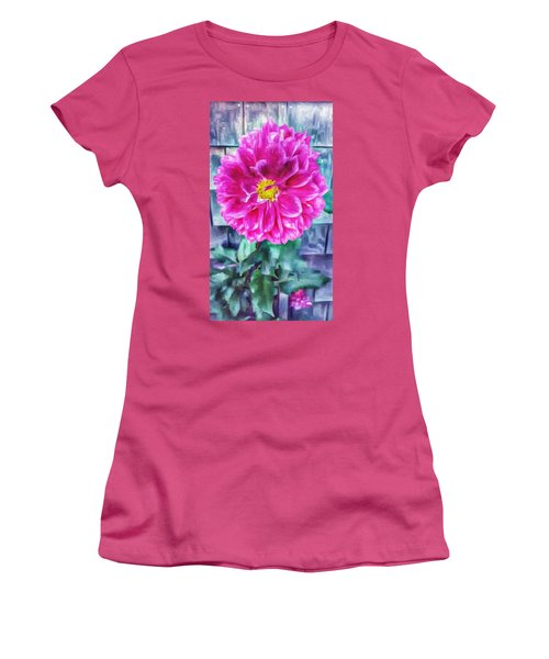 Fuschia Dahlia In Oil Women's T-Shirt (Athletic Fit)