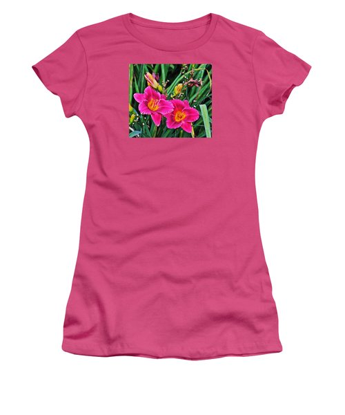 Glorious Daylilies Women's T-Shirt (Junior Cut) by Janis Nussbaum Senungetuk