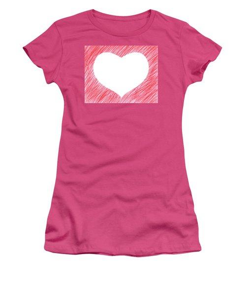 Hand-drawn Red Heart Shape Women's T-Shirt (Junior Cut) by GoodMood Art