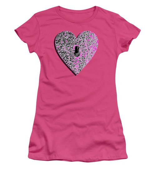 Women's T-Shirt (Junior Cut) featuring the photograph Heart Shaped Lock Pink .png by Al Powell Photography USA